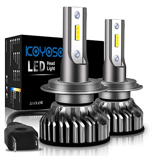 Ampoule H7 LED, 10000LM Phares pour Voiture et Moto, Ampoules Auto de Rechange pour Lampes Halogènes et Kit Xenon, 12V-24V, 6000K, 2 Ampoules