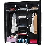 Kendan Summerby - Armario triple de lona plegable, con estantes y barra, con perchas para abrigos gratis, color negro