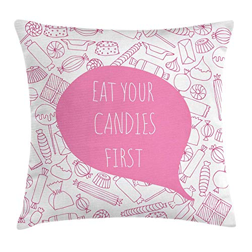 Quote Throw Pillow Cushion Cover, Eat Your Candies First Lettering in Speech Bubble with Various Sweets Funny Saying, Decorative Square Accent Pillow Case, Pink White,24 X 24 Inches (Wedding Bubbles In Bulk)