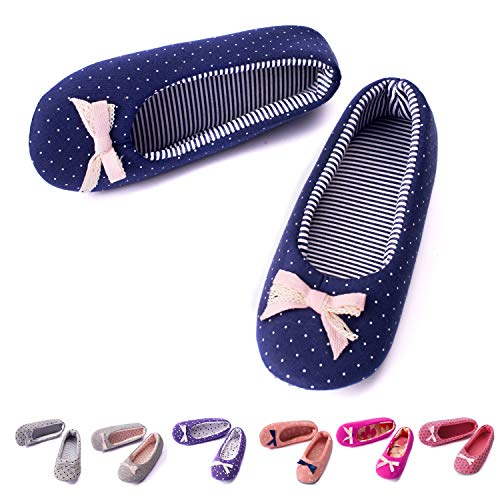TWINS Fashion « Rio » schöne & süße Damen-Hausschuhe I Ballerinas I Pantoffeln I Slippers - Plüsch Baumwolle rutschfest - diverse Farben (36/37, Blau)