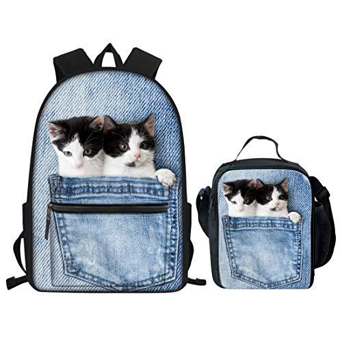 Nopersonality Kinder Schulranzen-Set Tiermuster Schulrucksack Student Teenager Starke Büchertaschen Rucksack für Jungen Mädchen, Denim Pocket Cat School Bag Set (Blau) - Nopersonality -