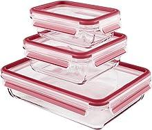 Emsa Clip & Close Vetro 017033514168 Contenitore Salvafreschezza per alimenti, Set 3 Pezzi, Vetro, Trasparente, 0.1x0.1x0.1 cm