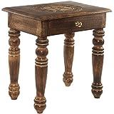 Premium madera mesa auxiliar, mesita auxiliar, mesilla de noche con cajón. Tallado a mano, madera maciza de mango de la India Tall With Drawer Tall With Drawer