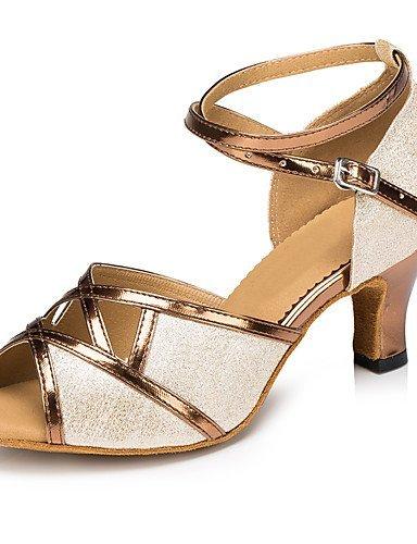 ShangYi Chaussures de danse(Argent / Or / Autre) -Personnalisables-Talon Aiguille-Cuir / Paillette Brillante-Latine Gold