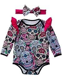 K-youth Ropa Bebe Recien Nacido Otoño Invierno Bebe Bodys Halloween Calavera Impresión Bebé Niñas