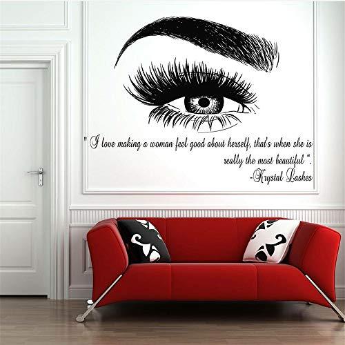 lyclff Schöne Frau Augen Vinyl WandaufkleberAuge Mit Schmetterlingen Home Schlafzimmer Kunst Mode Dekor Make-Up Salon Wandbilder ~ 1 56x76 cm
