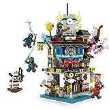 Modbrix Ninja Tempel Bausteine Haus inkl. 6 Ninja Minifiguren, 713 Teiliges Konstruktionsspielzeug