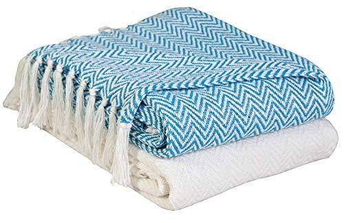 Ehc coppia confezione chevron copridivano per divano, poltrone della sedia coperta, 127x 152cm (confezione da 2)–avorio/verde acqua