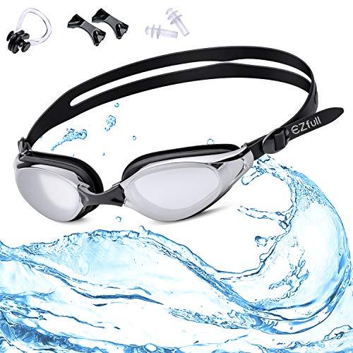EZfull Schwimmbrille mit KOSTENLOSER Schutzhülle, Nasenklammer, Ohrstöpsel & inklusive Profi Leistung Unisex Schwimmbrille für Erwachsene mit 100% UV-Schutz, Anti-Beschlag-Spiegel