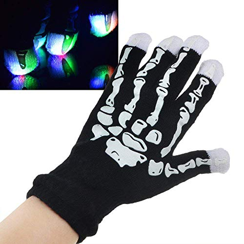 ANLW Skeleton Glowing Gloves Light Up Handschuhe Flashing Finger Lights Colorful Rave Handschuhe für die Heimdekoration