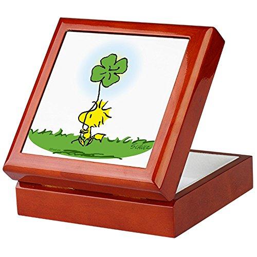 CafePress-Woodstock Shamrock-Keepsake Box, fertig Hartholz Jewelry Box, Samt Gefüttert Memento Box mahagoni -