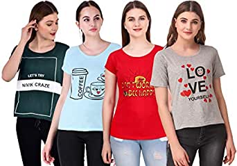 NIVIK Women's T-Shirt (Pack of 4) (CMB4-T-SHIRT-GRN-RED-BLU-GREY_Multicolored_X-Large)