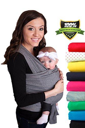 CuddleBug-Fular-Portabebs-Garanta-de-Por-Vida-Gris-Portador-de-Beb-Envo-Gratuito-Todo-Natural-Portador-de-Beb-Talla-nica-Baby-Wrap-Fular-Portabebs-Gris-Baby-Carrier-Garanta-de-30-Das