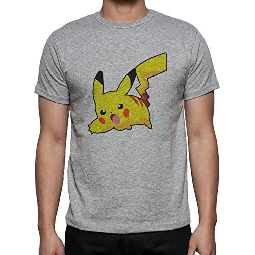 Pokemon Pikachu Electric Rat Yellow Attack Herren T-Shirt Grau