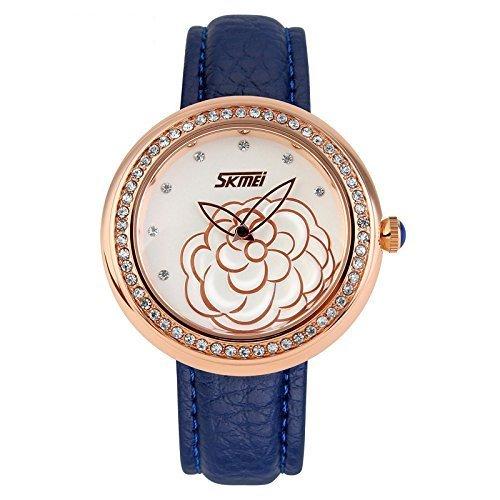 Quarz-Uhr Leder Armband Gravur Camellia Blume Zifferblatt Lady Frauen Kleid Uhr mit Strass Design 18K Vergoldet-Blau