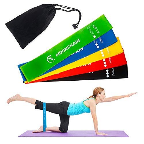 Mounchain Fitnessbänder/Widerstandsbänder Set, 5-Stärken Gymnastikbänder für Yoga, Pilates, Gymnastik, Reha, Physiotherapie, Krafttraining, Crossfit   Trainingsbänder für Männer & Frauen