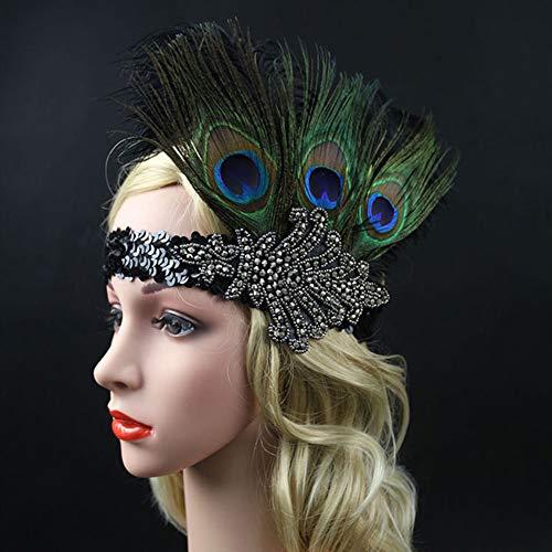 Damen Stirnband mit Federn, auffälliger Flaper Kopfwickel Haarschmuck mit Pailletten für Halloween, Weihnachten, Festival, Party, Kostüm, Dekoration Free Size pfau