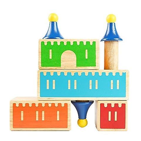 SainSmart Jr.Ritterburg,Schloss Logikus, Holzspielzeug Geschicklichkeitsspiel Logikspiel Castle Logix,Bauklötzen Puzzles Logiksachen, bunt