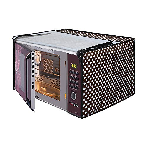 Glassiano Polka White and Black Printed Microwave Oven Cover for IFB 25 Litre Convection (25SC3, Metallic Silver)