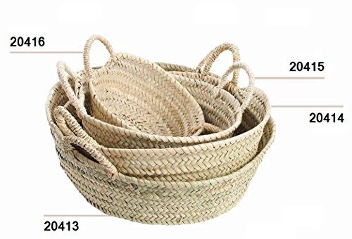 Desconocido Cuevano o cesto de Palma, Natural, con Asas de Pita (Aprox. 22x8 cm)