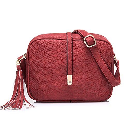 Realer Piccola pelletteria Borse Crossbody e borse con tracolla per le donne rosso