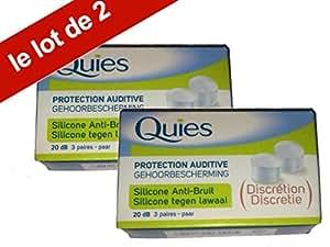 Quies - Boules Quies de Protection auditive en silicone Anti-Bruit 20dB - Lot de 2 Boites de 3 Paires