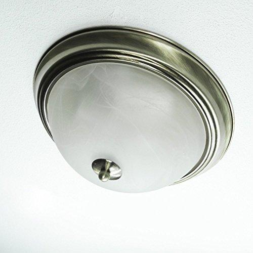 Edle Deckenlampe 2xE27 Jugendstil in Messing TOP Ø29cm Glas Deckenleuchte Wohnzimmer Schlafzimmer - Milchglas Led Birne