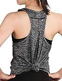 Dafunna Canotta Donna Yoga Pilates Tank Tops Racerback T-Shirt Senza Maniche Stretch Vest Gilet per Sportivo Fitness Workout Gym (Grigio, S)