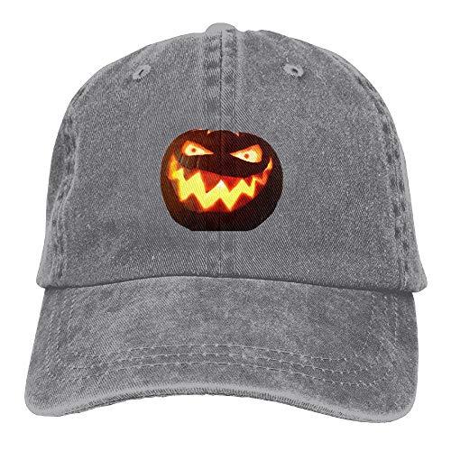 Hoklcvd Männer & Frauen Halloween kürbis mit glühenden Augen Klassische gewaschen gefärbte Baumwolle einfarbig baseballmütze eine größe multicolor31