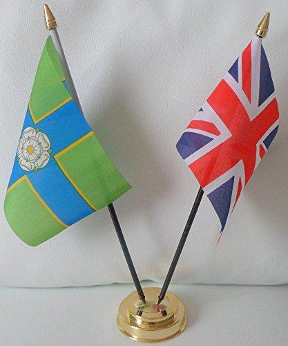 North Ridings Riding Of Yorkshire, Union-Jack-Flagge, Freundschaft Tabelle 2-Kopf mit goldfarbenem Sockel -