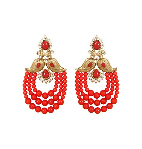 Adoreva Red Gold Plated Bollywood Indian Extremely Light Weight Long Earrings for...