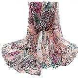 OverDose Damen Blume Voile Stola Schals langen Hals Wraps Schal Schal Winter Halstuch winterschal Schlauchschal,A-Pink