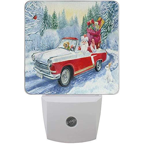 Red Truck Weihnachtsmann Nachtlicht Plug In Set von 2 Jungen Mädchen Babys, Winter Schneeflocke Schneemann Nachtlichter Auto