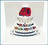 Forever Handmade Pop Up Karte zum 40. Geburtstag - edel und elegant mit verblüffender Wirkung beim Öffnen, da im Lasercut-Verfahren aus einem Blatt hochwertigen Kartons hergestellt. Designed und produziert von Ge Feng im walisischen Ross-on-Wye. GP046