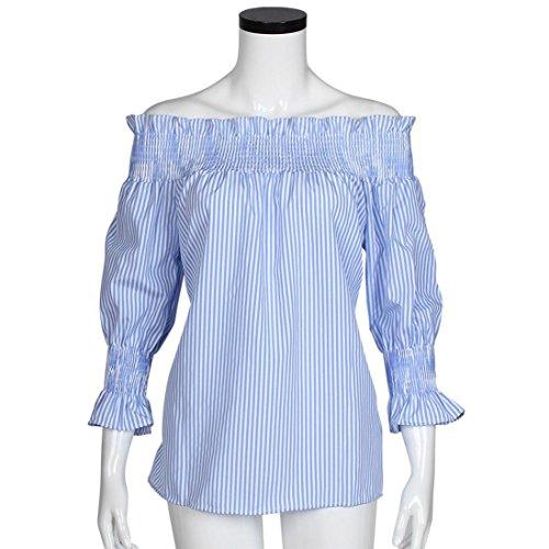 Ularma Damen Streifen Schulterfrei Bluse Country-Stil Bandeau Tops Soft Lose Oberteile Blau&Weiß