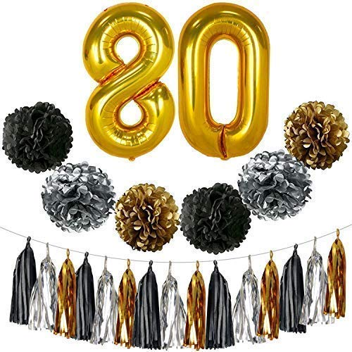 KATCHON Goldfarbene Deko zum 80. Geburtstag, groß, 23 Stück, schwarz, Gold und Silber, Pompons und Quaste, Partyzubehör zum 80. Geburtstag, Party-Dekoration, 80 Luftballons, 80 Stück