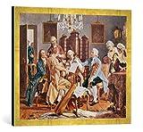 Gerahmtes Bild von Julius Schmid Haydn-Quartett, Kunstdruck im hochwertigen handgefertigten Bilder-Rahmen, 70x50 cm, Gold Raya