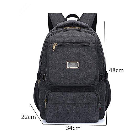 Zaino tela Computer Bag Middle School studente borsa a tracolla uomo il travel Bag Black