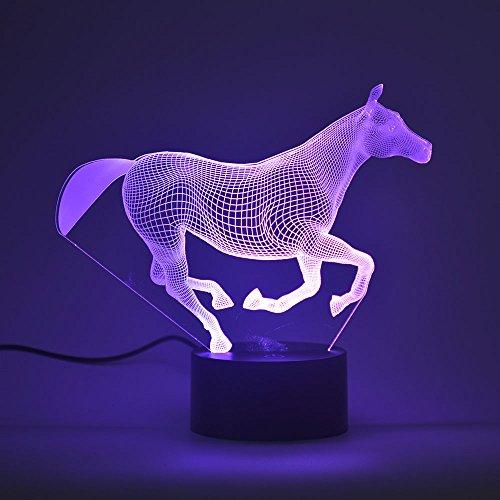 3D optische Illusion Nachtlicht, Touch LED Schreibtisch Lampe 7Farbwechsel USB-Ladegerät Touch Schalter Schreibtisch Nachtlicht für Kinder Friends Geschenk, plastik, Pferd 3.00 watts 5.00 volts