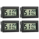GuDoQi 4 Stück Aquarium Thermometer Hygrometer Digitales LCD Mini Temperatur Luftfeuchtigkeitmessgerät Anzeige In °C Für Reptile Inkubator Geflügel Außen Innen