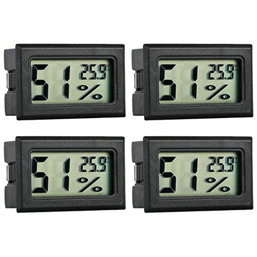 GuDoQi Set di 4 LCD Termometro Igrometro per Acquario Misuratore Embedded Digitale della Temperatura E umidità per Acquario Rettile Terrario Incubatore Pollame