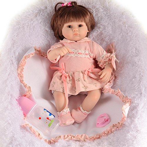 JHGFRT Reborn Babypuppe Simulierte Kinder Der Pädagogischen Frühen Kindheit Der Neugeborenen Babyspielwaren Saugen Schnuller-Mädchengeburtstagsgeschenk 45 cm,45cm
