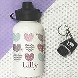 Trinkflasche für Kinder, personalisierbar, Kleinkinder Flasche, Pastel Hearts Flasche, Schule Lunch Tasche Flaschen