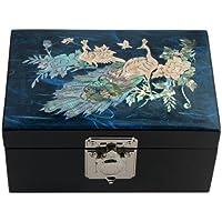 Boîte à bijoux en Bois Fresque Corée Tradition Nacre Miroir Elégant PAON BLEU