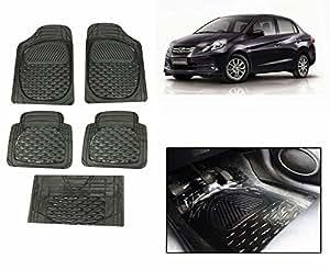 Speedwav SET OF 5 Premium Smoke Black Car Floor Mats-Honda Amaze Old