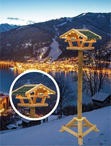 Vogelhaus Vogelfutterhaus Tirol mit LED Beleuchtung und Ständer Höhe 120cm 1983-01