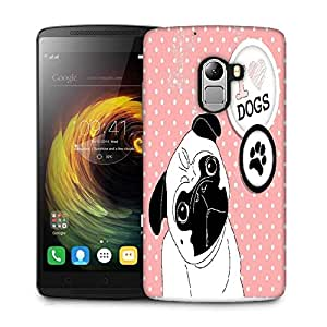 Snoogg i love pugs cute little pug on polka dot background Designer Protective Back Case Cover For Lenovo K4 Note
