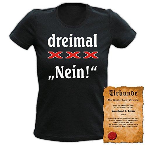 Fun T-Shirt 4 Girls ::: dreimal XXX Nein! ::: Damen Top mit Urkunde Schwarz