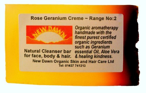 Handmade Natural Rose Geranium Soap Bar - Range No.2 - Acne, Eczema, Psoriasis, Itchy Skin, PMT and Hormone Imbalance Relief - 35g - Sample/Travel Size by New Dawn (Soap-hormone)