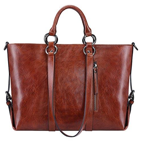 Leder 3 Tasche (S-ZONE Frauen 3-Weg-Tragen Echtes Leder Tasche Handtasche Schultertasche (Korn Leder-Kastanienbraun))
